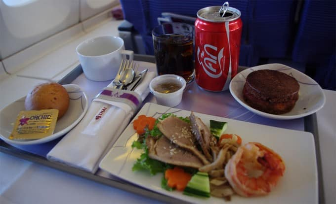 inflight business class meal