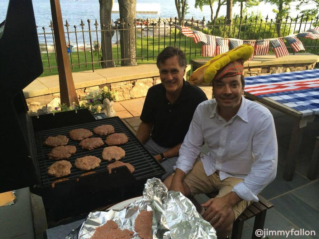 Jimmy Fallon with Mitt Romney eating burger