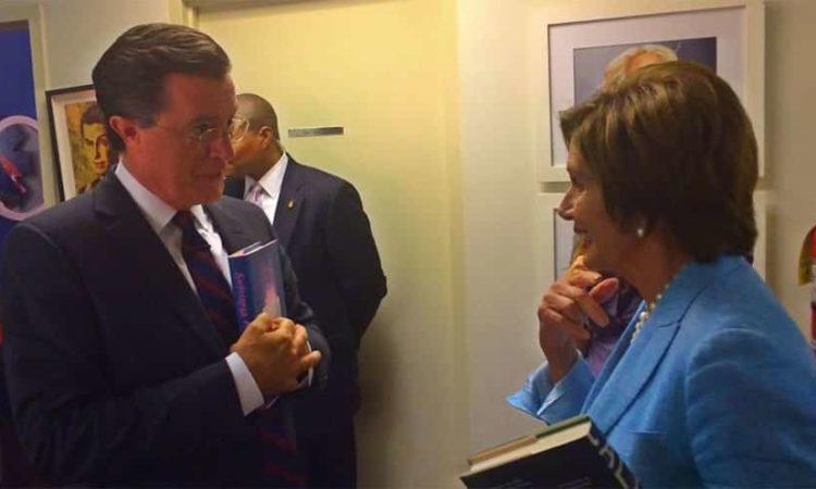 Nancy Pelosi with Stephen Colbert
