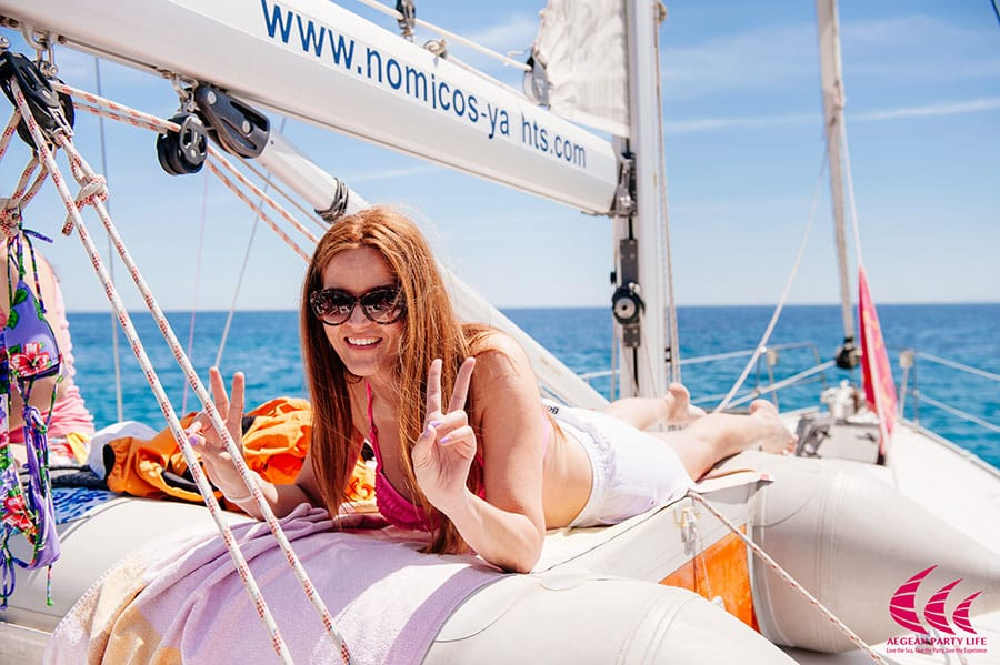 [Women sailing in greece