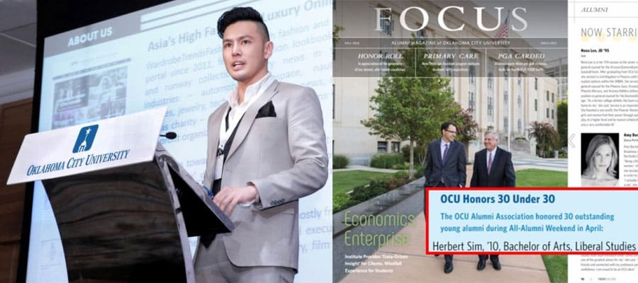 WardrobeTrendsFashion's Herbert Sim honored with 30 Under 30 Award by Oklahoma City University