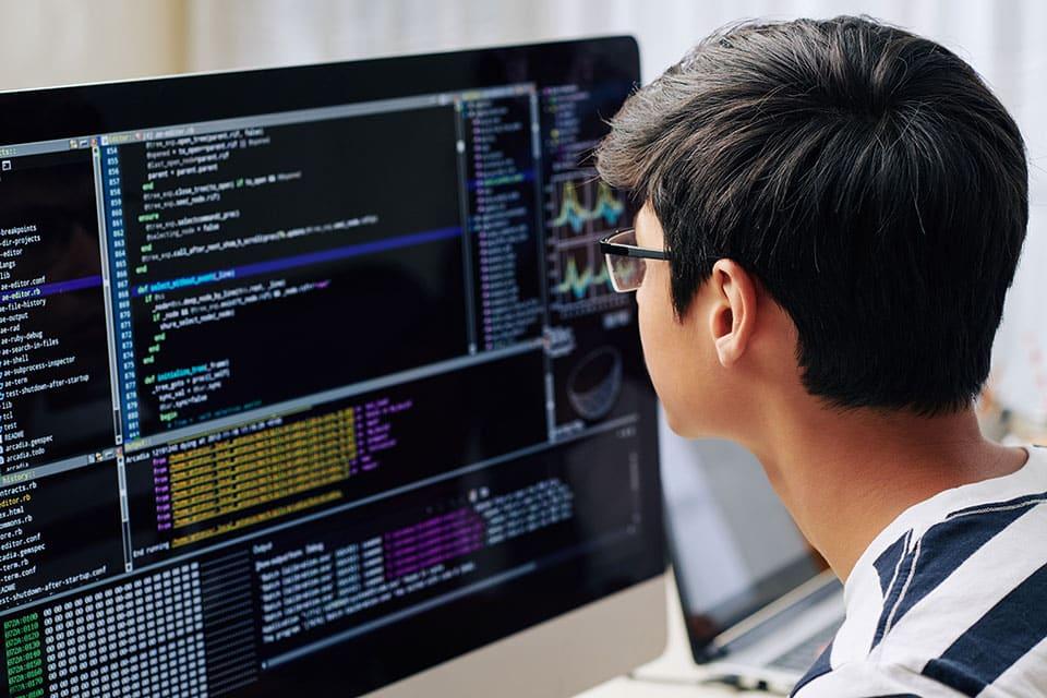 Teenage boy checking programming code