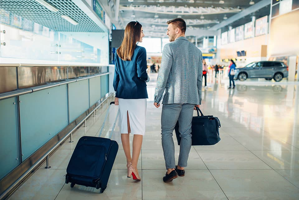 Passengers in airport business trip